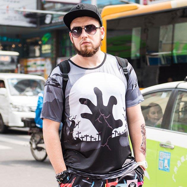 FINDSENSE品牌監製 大尺碼男裝 大號加大碼寬鬆短袖T恤薄款個性印花短袖夏季男大尺碼寬鬆透氣T恤速乾排汗T