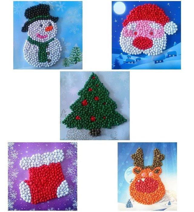 〔小玩子〕聖誕節 兒童貼畫 揉紙畫 黏貼畫 全現貨出貨迅速 益智玩具 兒童手作DIY 美勞 材料包 安親班教材