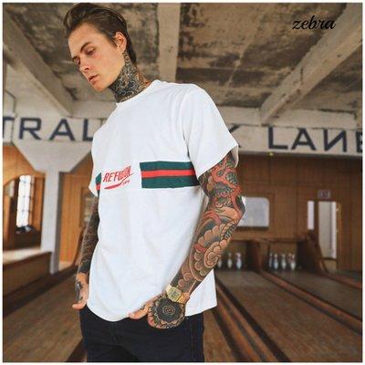 ZEBRA-【TM2122】美式 男女 街頭 2色 潮流 嘻哈 紅綠配色織帶 短T M-XL特價 380元