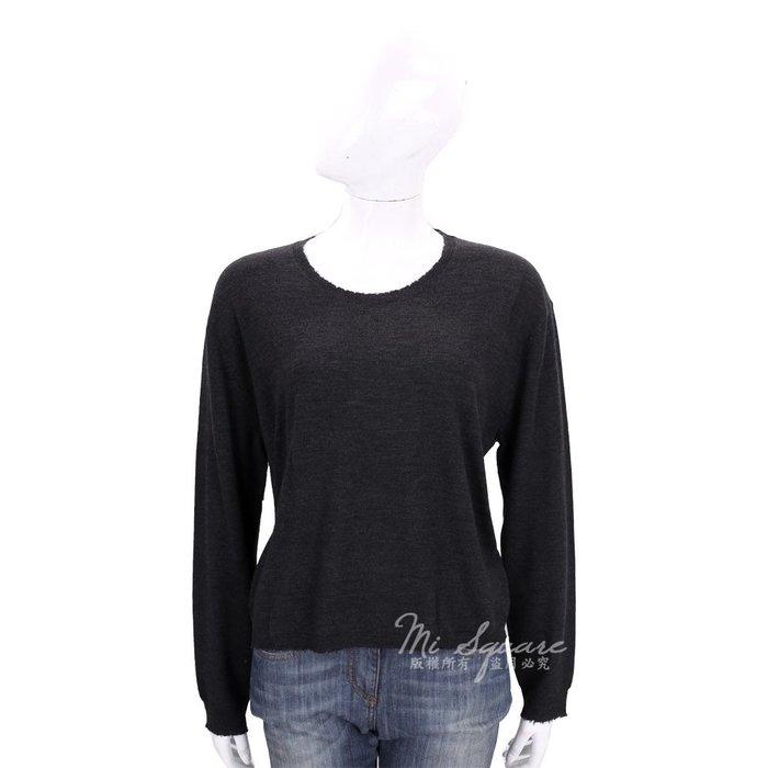 米蘭廣場 ALLUDE 黑色毛邊設計圓領針織羊毛上衣(100%WOOL) 1710093-01