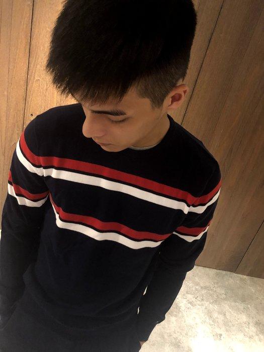 美國百分百【全新真品】Tommy Hilfiger 大學T 圓領 T恤 長袖 TH 針織衫 條紋 深藍 XS號 J224
