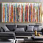 C - R - A - Z - Y - T - O - W - N 純手繪立體筆觸油畫直線七彩抽象藝術掛畫橫幅手繪裝飾畫商空美學空間設計師款高檔手繪油畫收藏掛畫