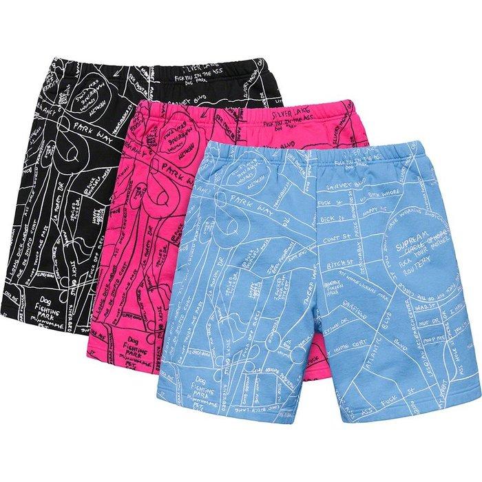 【紐約范特西】預購 SUPREME SS19 Gonz Embroidered Map Sweatshort 短褲