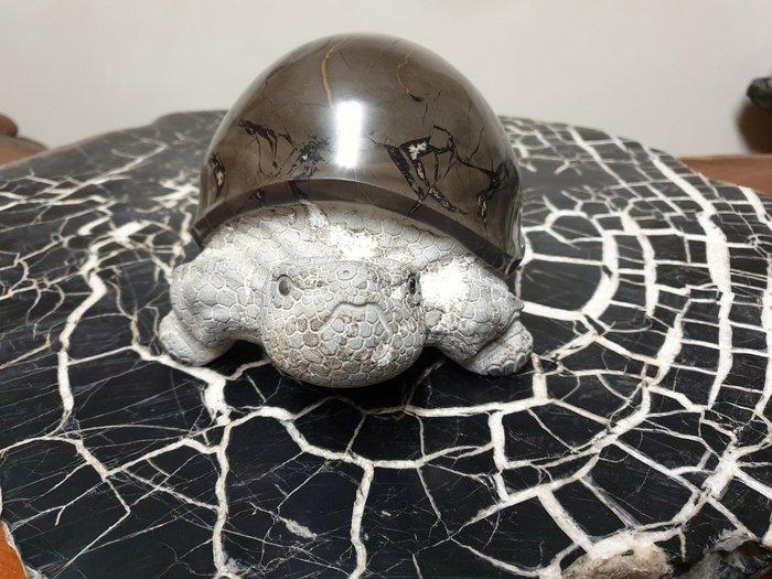 上和茶軒*台灣本土石雕龜作家 : 天淪人 老師*龜甲石,石雕烏龜(鋼盔型)