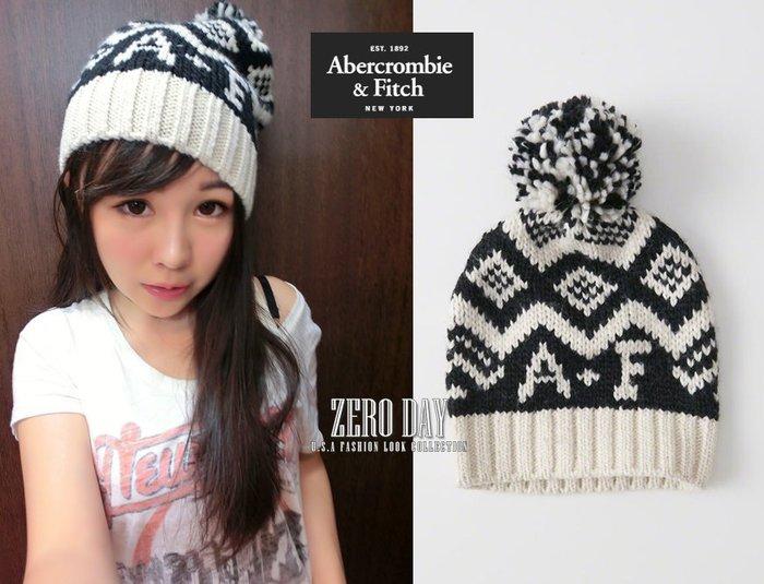 零時差美國時尚網A&F真品Abercrombie&Fitch Patterned Pom Beanie毛球針織羊毛帽黑色