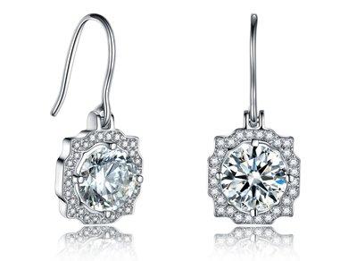 鑽石耳環2克拉 不過敏 結婚 情人節禮...
