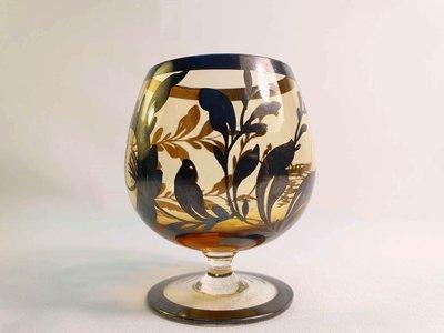 { Ruminant 慕名古物 } 925純銀鑲嵌褐色玻璃酒杯/渡船人與植物