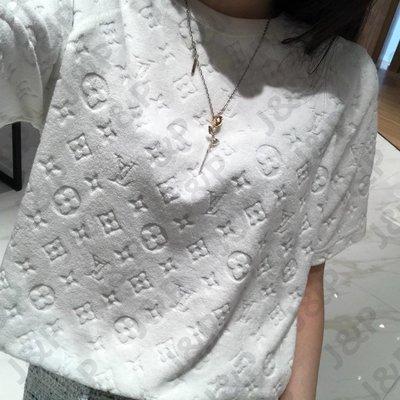 LV 19SS Monogram Toweling 提花背景花紋 T恤 情侶款 白色