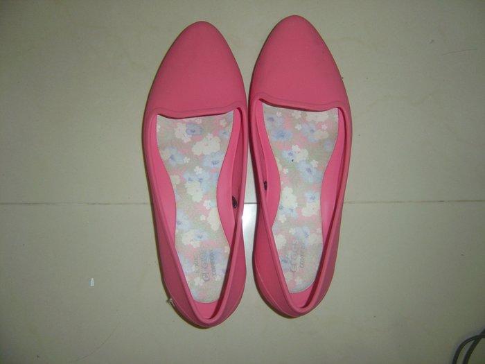 二手_正品CROCS 7號淺蓮花紅偏深粉色平底鞋果凍鞋雨鞋娃娃鞋膠鞋,適二四號_免郵