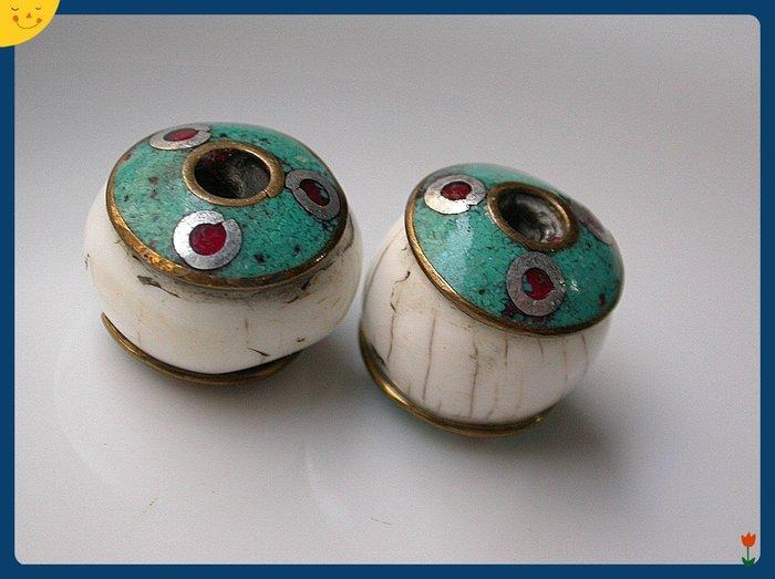 【雅之賞|藏傳|佛教文物】*特賣* 藏式配件 尼泊爾銅鑲嵌硨磲 (2個一組)~Q781