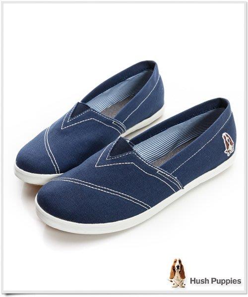 22,22.5cm ↘47折 Hush Puppies 基本款 咖啡紗懶人鞋休閒鞋 藍色 toms(全家樂)