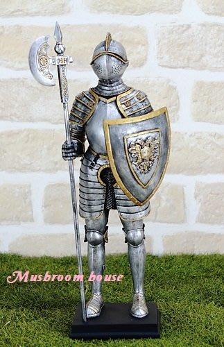 點點蘑菇屋{中古武士擺飾十一}鐵甲武士 全身盔甲右手握長斧左手拿盾牌 歐洲羅馬武士 現貨 免運費
