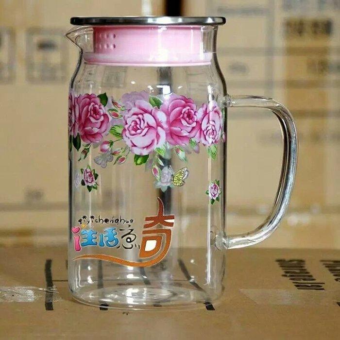 粉紅玫瑰精品屋~韓國進口粉玫瑰玻璃冷水壺~