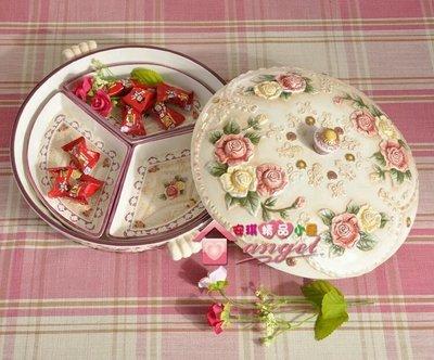 粉紅玫瑰精品屋~歐式陶瓷玫瑰三格糖果盤...