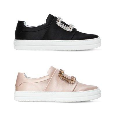 [全新真品代購] Roger Vivier 水鑽方框 Sneaky Viv 緞面 休閒鞋 / 懶人鞋