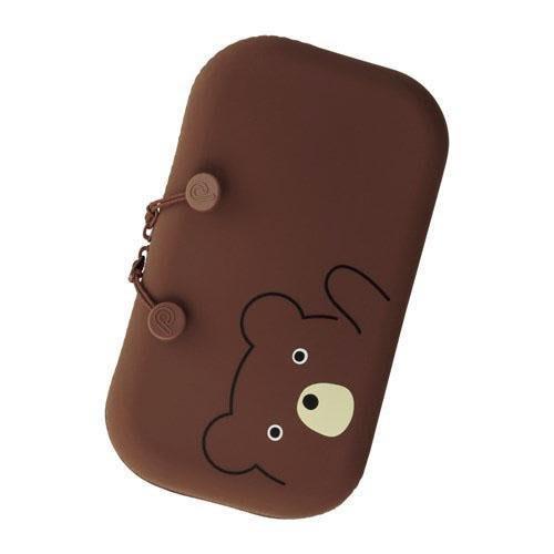 日本 SMART FIT PuniLabo 動物矽膠筆盒/化妝包-棕熊