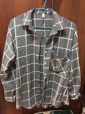 韓系 格子長袖襯衫 灰色 上衣 賣場消費滿百送非醫療口罩