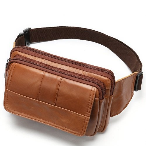 腰包 真皮 側背包-休閒復古純色牛皮男包包8款73xq6[獨家進口][米蘭精品]
