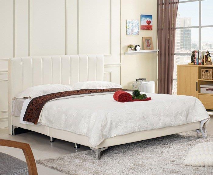 【DH】商品編號G672-3商品名稱琳多6尺雙人床/米白皮(圖一)床片+床底。可拆賣。備有五尺可選。主要地區免運費