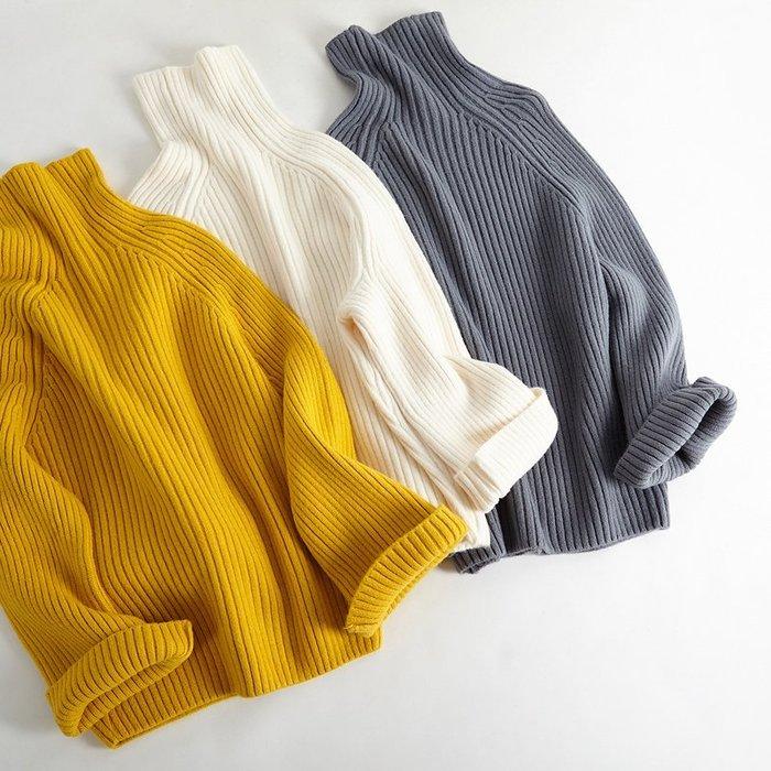 高領毛衣  韓國小清新喇叭袖慵懶寬松秋冬厚實毛線套頭打底針織衫—莎芭