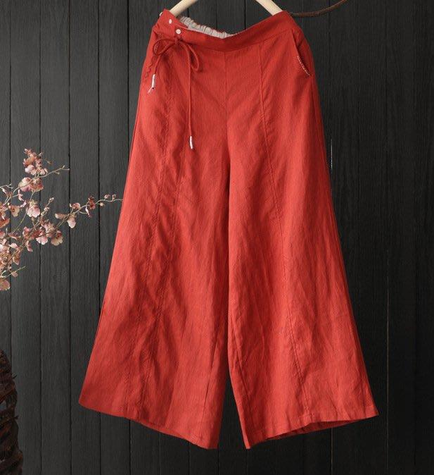 夏季新款半鬆緊腰側邊伴扣繫帶設計休閒褲(老銀屋)