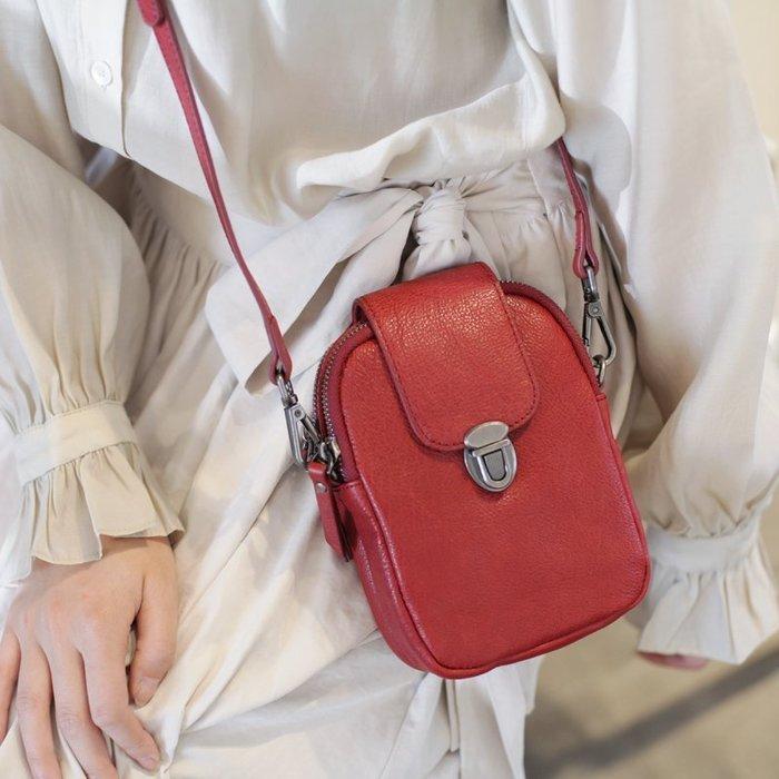 **蛻變英倫**韓國限定版連線熱賣高品質訂製歐美頂級款紅色真皮多層小包豎款斜挎包女士包包2019新款夏天復古單肩小方包