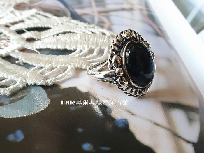 黑爾典藏西洋古董~純銀925銀 黑瑪瑙蝴蝶葉邊層層橢圓高台戒~美國品牌韓國時尚雜誌