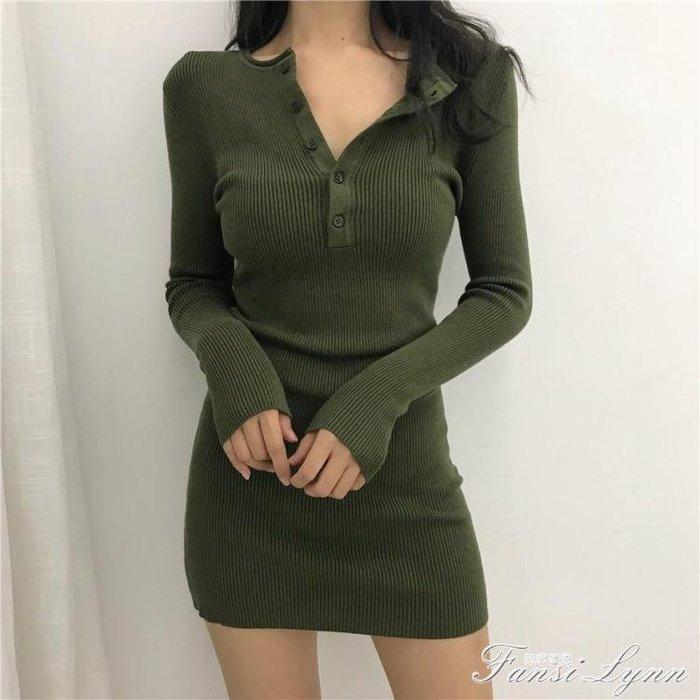 秋裝新款韓版晚晚風胸前系扣女緊身長袖針織顯瘦打底內搭連身裙潮 一件免運