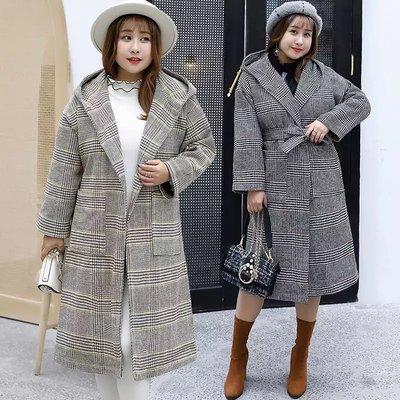 ✿plump girl 甜美✿中大尺碼女裝休閒毛呢格子大衣外套1559