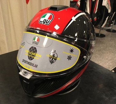 瀧澤部品 義大利 AGV Sportmodular Carbon 亮紅 碳纖維 可樂帽 彩繪 內藏墨片 汽水帽 輕量
