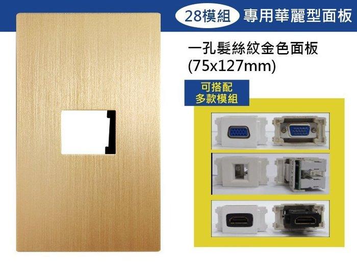 【易控王】一孔時尚髮絲紋面板+28模組/可放電源/VGA模組HDMI模組等各式訊號插座/設計師愛用款 (40-400D)