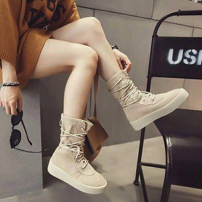 【現貨】Biku♥Shoes顯瘦顯腿長百搭鞋子牛筋皮厚底椰子鞋二代/中筒靴/機車靴