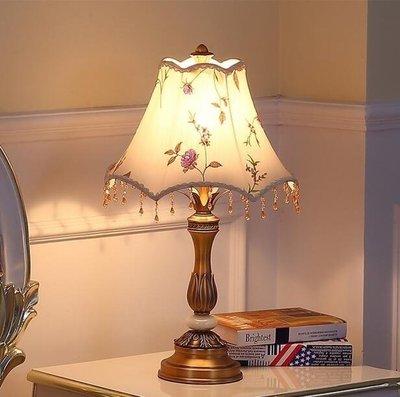 M-歐式房間溫馨閱讀串珠檯燈臥室床頭燈美式裝飾新婚藝術布藝家用(不贈送燈泡)【首圖款】