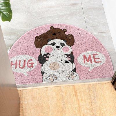 卡通可愛粉色半圓進門地墊 絲圈地毯入戶門口玄關換鞋腳墊 門墊