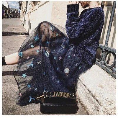 現貨❤️星空裙Dior風格紗裙星星銀河紗裙+ 柔軟金絲絨圓領針織衫毛衣上衣T-藍/紫