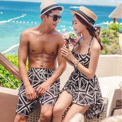 泳裝 韓國兩件式分體裙式遮肚比基尼蜜月沙灘套裝 情侶泳衣(男裝)【O3096】☆kiyomi☆