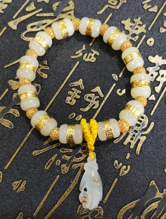 珍奇翡翠珠寶首飾-和田玉金鑲玉手鍊,賣家設計款,顆顆油潤光亮,高品質手串,附證書,搭配玻璃種,放光起膠飄紅花,佛手玉墜