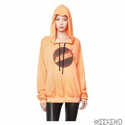 【WEEKEND】 UNRAVEL 破損 仿舊 帽T 長袖 口袋 火焰 橘色 連帽衛衣 上衣