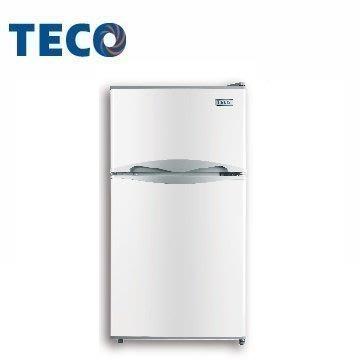 ☎原廠公司貨【TECO 東元】100公升 雙門 冰箱 (R1001W)另售(R1001N)