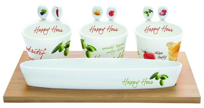 點點蘑菇屋 義大利Easy Life Design陶瓷開胃菜組(含3個碗、6支叉子和竹製托盤) 沙拉碗 點心碗 附禮盒