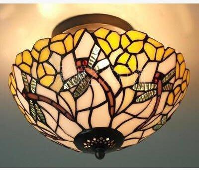 新款歐式田園吸頂燈 溫馨浪漫彩色玻璃書房走廊陽台吸頂燈 AH113.