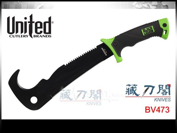 《藏刀閣》UNITED-(BV473)黑色軍團多功能叢林獵刀(鉤型)