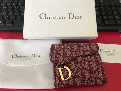 二手真品 Christian Dior 緹花 紅色 金釦 馬鞍 短夾 皮夾 復古老花