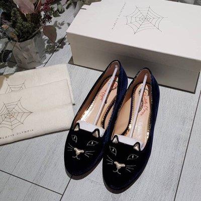 正品 Charlotte Olympia Kitty Flats 深藍天鵝絨金跟 貓咪娃娃鞋 附購憑 防塵袋 鞋盒 37.5