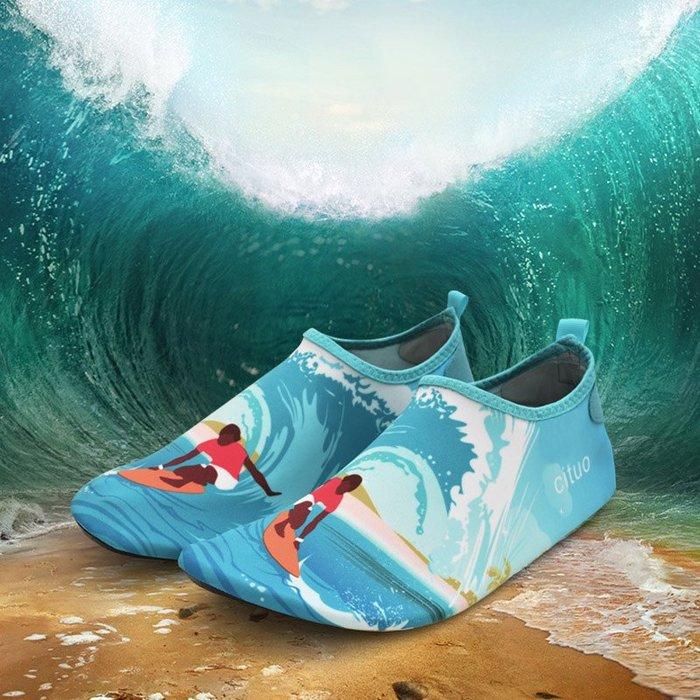 小花花精貨店-戶外沙灘襪女潛水浮潛鞋成人游泳溯溪速干鞋男防滑防割瑜伽鞋#沙灘鞋