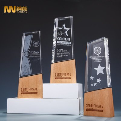 預購款-水晶獎杯創意木質獎杯定制內雕授權牌榮譽員工獎獎牌定做年會獎杯
