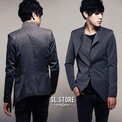 SL Store【C505 】英倫雅痞合版修身剪裁.不對稱斜邊設計西裝外套.灰/黑/M/L/XL/2XL