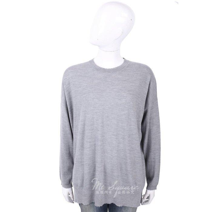 米蘭廣場 ALLUDE 100%羊毛灰色不修邊圓領長袖針織衫 1740216-06