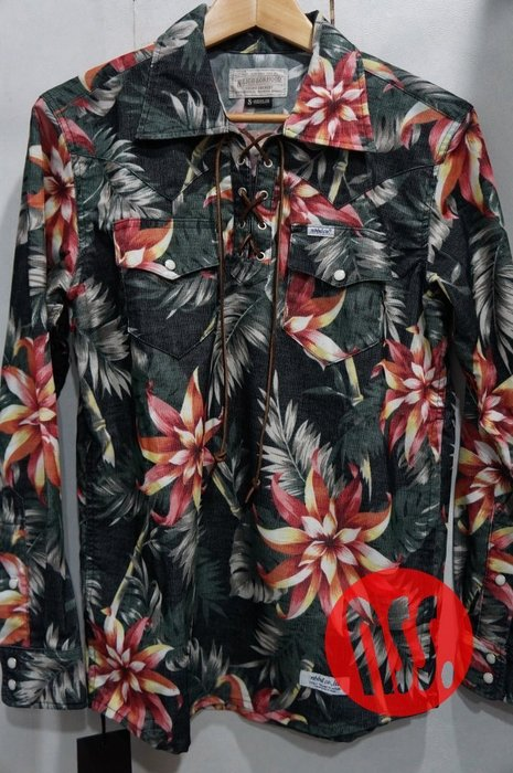 特價「NSS』NEIGHBORHOOD 14 BRONCO ALOHA CE-SHIRT LS 滿版 花 長袖襯衫 S