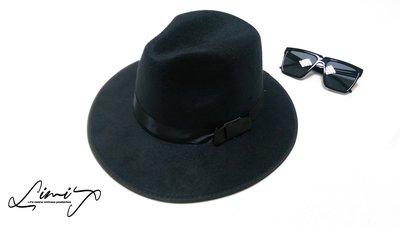 『新春限量促銷』春夏薄款黑色寬沿紳士帽 Wide brim hat 歐美 百搭 古著 復古 大帽簷 【LtLf】